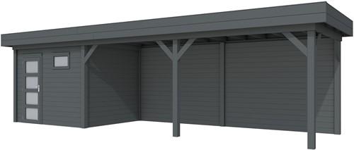 Blokhut Bonte Kraai met luifel 600, afm. 887 x 253 cm, plat dak, houtdikte 28 mm. - volledig antraciet gespoten