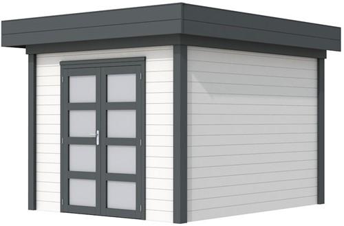 Blokhut Bosuil, afm. 303 x 303 cm, plat dak, houtdikte 28 mm. - basis en deur antraciet, wand wit gespoten