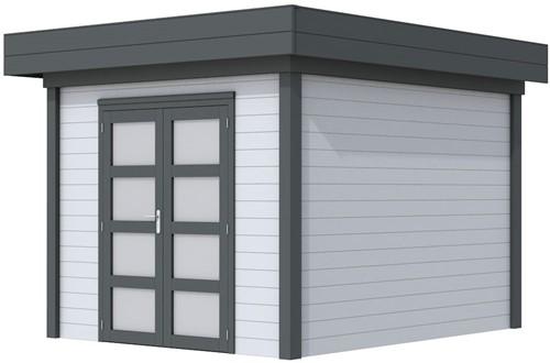 Blokhut Bosuil, afm. 303 x 303 cm, plat dak, houtdikte 28 mm. - basis en deur antraciet, wand grijs gespoten