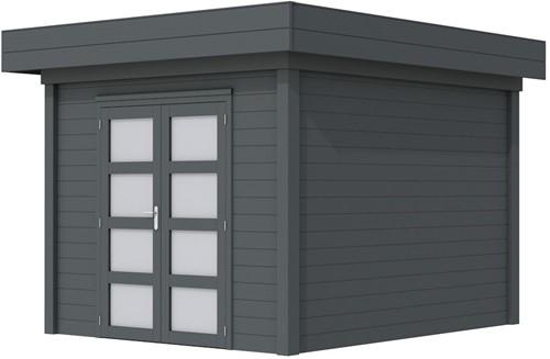Blokhut Bosuil, afm. 300 x 300 cm, plat dak, houtdikte 28 mm. - volledig antraciet gespoten