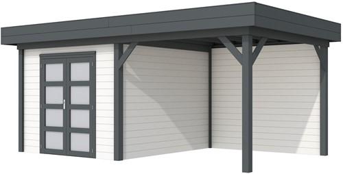 Blokhut Bosuil met luifel 400, afm. 689 x 303 cm, plat dak, houtdikte 28 mm. - basis en deur antraciet, wand wit gespoten