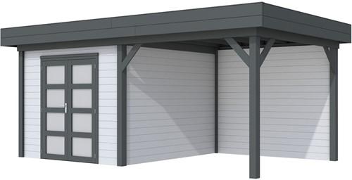 Blokhut Bosuil met luifel 400, afm. 689 x 303 cm, plat dak, houtdikte 28 mm. - basis en deur antraciet, wand grijs gespoten