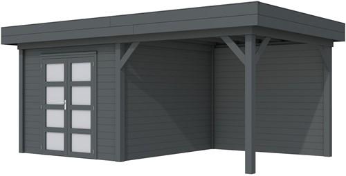 Blokhut Bosuil met luifel 400, afm. 689 x 303 cm, plat dak, houtdikte 28 mm. - volledig antraciet gespoten