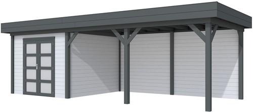 Blokhut Bosuil met luifel 500, afm. 787 x 303 cm, plat dak, houtdikte 28 mm. - basis en deur antraciet, wand grijs gespoten