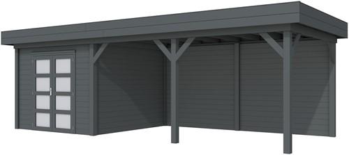 Blokhut Bosuil met luifel 500, afm. 787 x 303 cm, plat dak, houtdikte 28 mm. - volledig antraciet gespoten