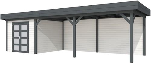 blokhut Bosuil met luifel 600, afm. 887 x 303 cm, plat dak, houtdikte 28 mm. - basis en deur antraciet, wand wit gespoten