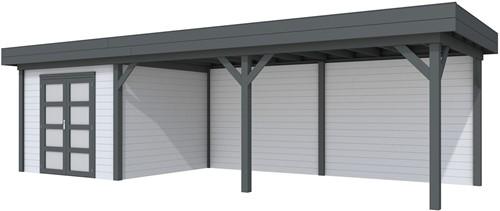 blokhut Bosuil met luifel 600, afm. 887 x 303 cm, plat dak, houtdikte 28 mm. - basis en deur antraciet, wand grijs gespoten