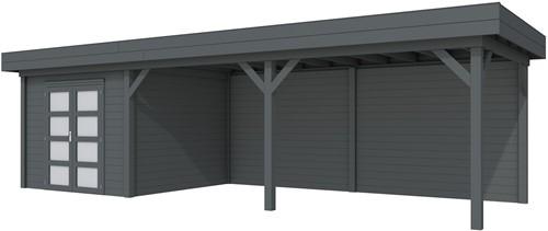 blokhut Bosuil met luifel 600, afm. 887 x 303 cm, plat dak, houtdikte 28 mm. - volledig antraciet gespoten