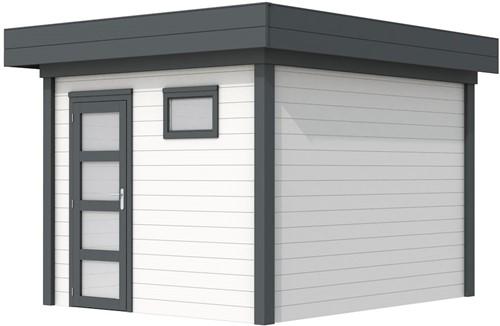 Blokhut Tapuit, afm. 303 x 303 cm, plat dak, houtdikte 28 mm. - basis en deur antraciet, wand wit gespoten