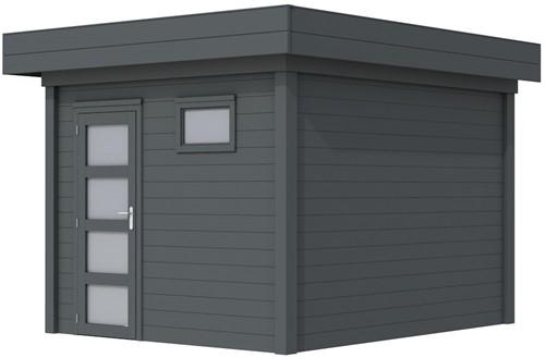 Blokhut Tapuit, afm. 300 x 300 cm, plat dak, houtdikte 28 mm. - volledig antraciet gespoten