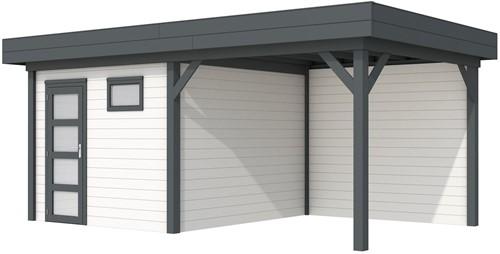 Blokhut Tapuit met luifel 400, afm. 689 x 303 cm, plat dak, houtdikte 28 mm. - basis en deur antraciet, wand wit gespoten