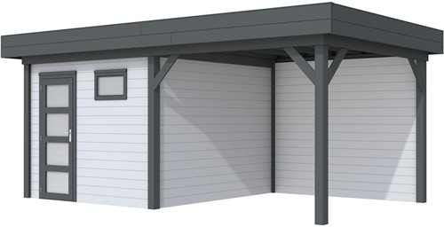 Blokhut Tapuit met luifel 300, afm. 596 x 303 cm, plat dak, houtdikte 28 mm. - basis en deur antraciet, wand grijs gespoten