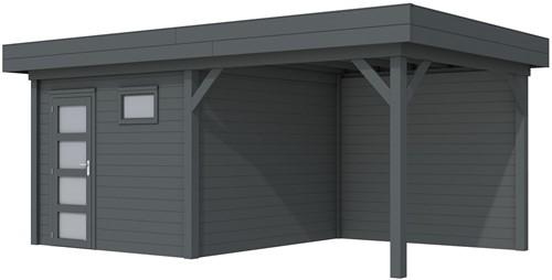 Blokhut Tapuit met luifel 400, afm. 700 x 300 cm, plat dak, houtdikte 28 mm. - volledig antraciet gespoten