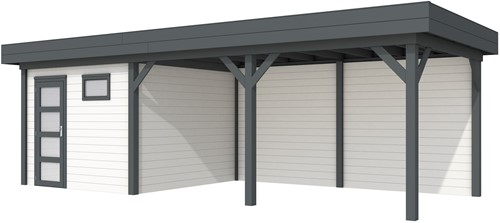 blokhut Tapuit met luifel 500, afm. 787 x 303 cm, plat dak, houtdikte 28 mm. - basis en deur antraciet, wand wit gespoten
