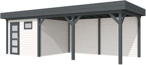 blokhut Tapuit met luifel 500, afm. 800 x 300 cm, plat dak, houtdikte 28 mm. - basis en deur antraciet, wand wit gespoten