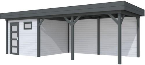 blokhut Tapuit met luifel 500, afm. 787 x 303 cm, plat dak, houtdikte 28 mm. - basis en deur antraciet, wand grijs gespoten