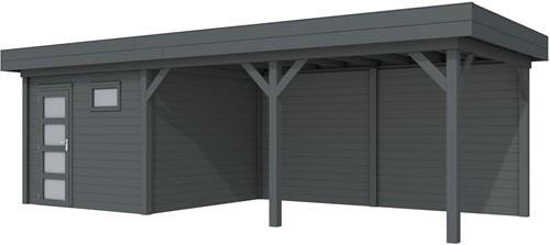 blokhut Tapuit met luifel 500, afm. 787 x 303 cm, plat dak, houtdikte 28 mm. - volledig antraciet gespoten