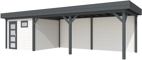 Blokhut Tapuit met luifel 600, afm. 887 x 303 cm, plat dak, houtdikte 28 mm. - basis en deur antraciet, wand wit gespoten