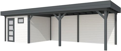 Blokhut Tapuit met luifel 600, afm. 900 x 300 cm, plat dak, houtdikte 28 mm. - basis en deur antraciet, wand wit gespoten