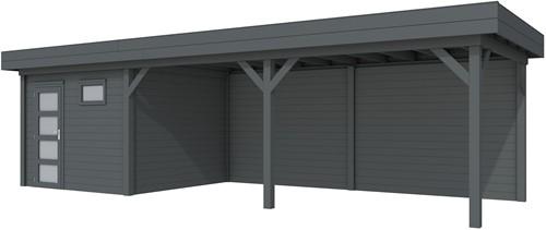 Blokhut Tapuit met luifel 600, afm. 887 x 303 cm, plat dak, houtdikte 28 mm. - volledig antraciet gespoten