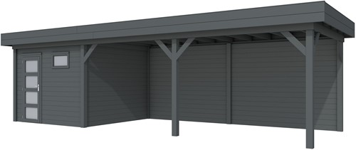 Blokhut Tapuit met luifel 600, afm. 900 x 300 cm, plat dak, houtdikte 28 mm. - volledig antraciet gespoten