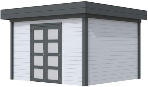 Blokhut Parelhoen, afm. 395 x 303 cm, plat dak, houtdikte 28 mm. - basis en deur antraciet, wand grijs gespoten