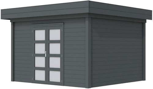 Blokhut Parelhoen, afm. 395 x 303 cm, plat dak, houtdikte 28 mm. - volledig antraciet gespoten