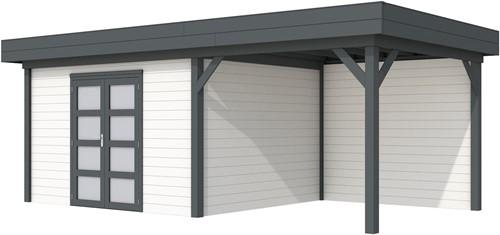 Blokhut Parelhoen met luifel 400, afm. 778 x 303 cm, plat dak, houtdikte 28 mm. - basis en deur antraciet, wand wit gespoten