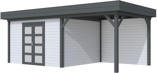 Blokhut Parelhoen met luifel 400, afm. 778 x 303 cm, plat dak, houtdikte 28 mm. - basis en deur antraciet, wand grijs gespoten