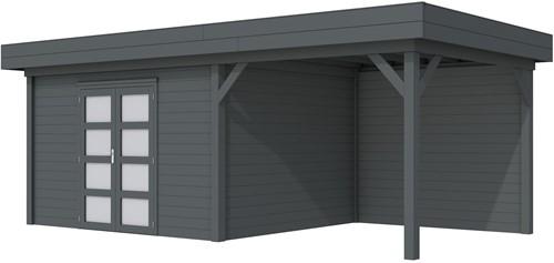Blokhut Parelhoen met luifel 400, afm. 778 x 303 cm, plat dak, houtdikte 28 mm. - volledig antraciet gespoten