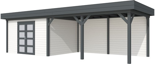 Blokhut Parelhoen met luifel 500, afm.900 x 300 cm, plat dak, houtdikte 28 mm. - basis en deur antraciet, wand wit gespoten