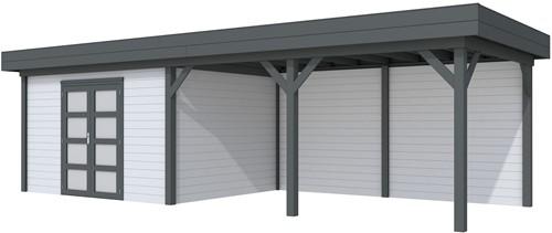 Blokhut Parelhoen met luifel 500, afm. 876 x 303 cm, plat dak, houtdikte 28 mm. - basis en deur antraciet, wand grijs gespoten