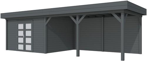 Blokhut Parelhoen met luifel 500, afm.900 x 300 cm, plat dak, houtdikte 28 mm. - volledig antraciet gespoten