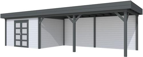 Blokhut Parelhoen met luifel 600, afm. 976 x 303 cm, plat dak, houtdikte 28 mm. - basis en deur antraciet, wand grijs gespoten