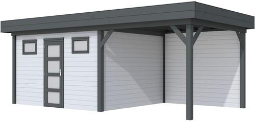 Blokhut Kievit met luifel 300, afm. 686 x 303 cm, plat dak, houtdikte 28 mm. - basis en deur antraciet, wand grijs gespoten