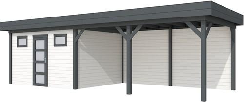 Blokhut Kievit met luifel 500, afm. 900 x 300 cm, plat dak, houtdikte 28 mm. - basis en deur antraciet, wand wit gespoten