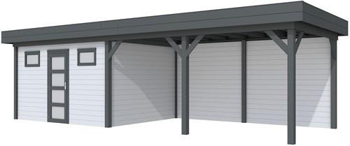Blokhut Kievit met luifel 500, afm. 876 x 303 cm, plat dak, houtdikte 28 mm. - basis en deur antraciet, wand grijs gespoten