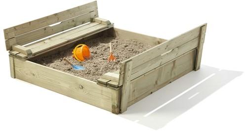 Zandbak met deksel en zitje, 118x118 cm, geïmpregneerd vuren