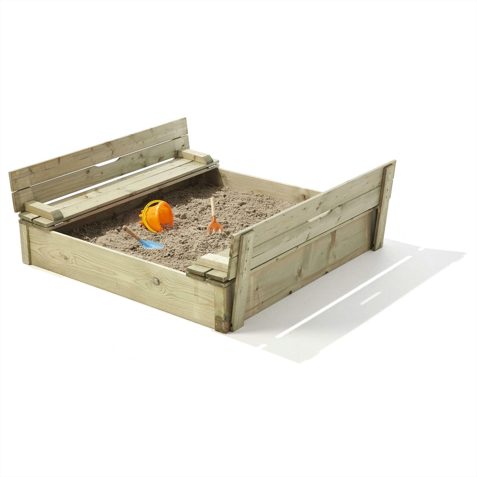 Outdoor Life Zandbak met deksel en zitje, 118x118 cm, geïmpregneerd vuren