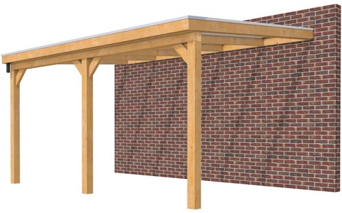 Hillhout douglas veranda Excellent 500, afm. 512 x 360 cm, helder dakplaat
