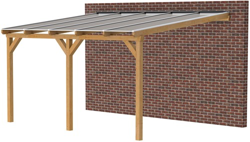 Douglas veranda, afm. 500 x 350 cm, opaal dakplaat