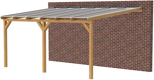 Douglas veranda, afm. 600 x 400 cm, heldere dakplaat