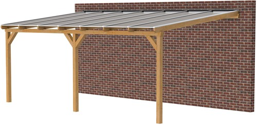 Douglas veranda, afm. 700 x 350 cm, opaal dakplaat