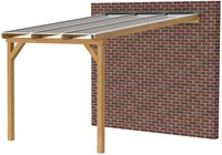 Douglas veranda, afm. 300 x 350 cm, opaal dakplaat