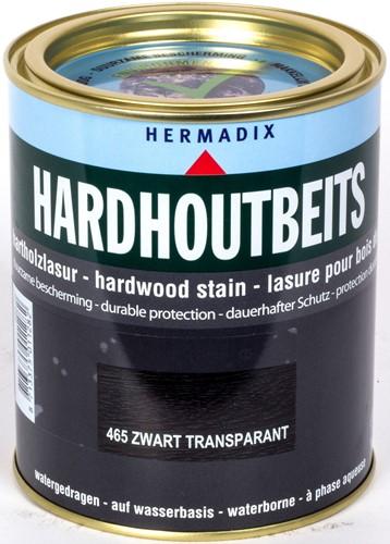 Hermadix hardhoutbeits, transparant, nr. 465 zwart, blik 0,75 liter