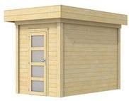 Blokhut Kiekendief, afm. 200 x 300 cm. plat dak, houtdikte 28 mm.