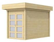 Blokhut Zwaluw, afm. 200 x 300 cm, houtdikte 28 mm, plat dak - onbehandeld (blank)