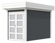 Blokhut Zwaluw, afm. 200 x 300 cm, houtdikte 28 mm, plat dak - basis en deur wit, wand antraciet gespoten
