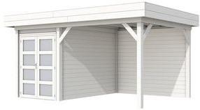 Blokhut Zwaluw met luifel 400, afm. 600 x 300 cm, plat dak, houtdikte 28 mm,  - volledig wit gespoten