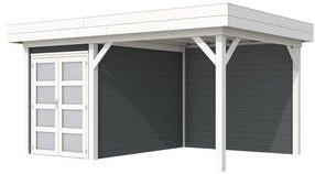 Blokhut Zwaluw met luifel 300, afm. 500 x 300 cm, plat dak,  houtdikte 28 mm. - basis en deur wit, wand antraciet gespoten